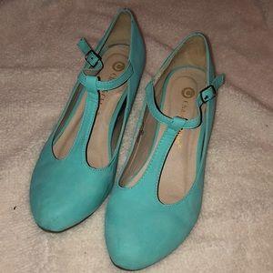 Aqua Blue Wedge Strap Heels